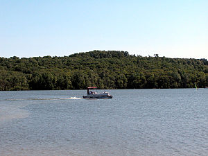 Prince Gallitzin State Park - A boat on Glendale Lake in the park