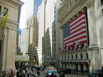 Wall Street - The New York Stock Exchange on Wall Street, by a significant margin the world's largest stock exchange per market capitalization of its listed companies, at US$23.1 trillion as of April 2018.