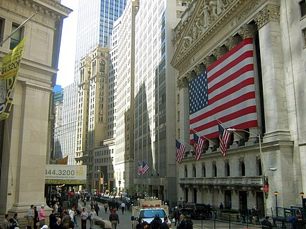 The New York Stock Exchange on Wall Street, the world's largest stock exchange by listed capitalisation. Photos NewYork1 032.jpg