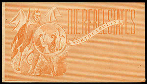 North Carolina in the American Civil War - Pictorial envelope published in the Northern states during U.S. Civil War showing the Devil holding the Seal of North Carolina and a Confederate flag.