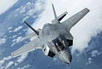 Pictured is the first of the UK's F-35B Lightning II jets to be flown to the UK. MOD 45160020.jpg
