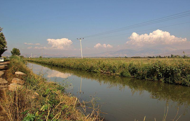 תעלת מים שנחפרה בזמן ייבוש החולה בתוואי שהיה נהר ה