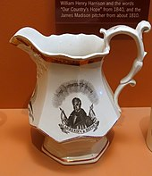 A ceramic pitcher, with a depiction of Harrison on it