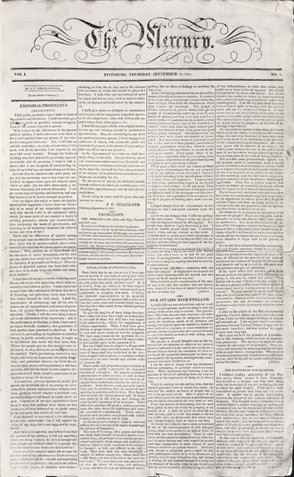 Pittsburgh Mercury - Front page of first issue