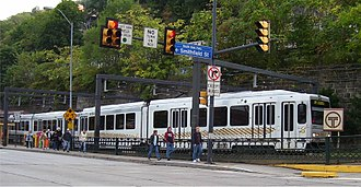 "Pittsburgh Light Rail - A ""T"" vehicle departs Station Square"