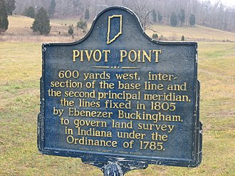 Second principal meridian - Sign along Indiana Route 37, pointing to meeting of the Second Principal Meridian and the Indiana base line