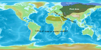 """Geopolitics - Sir Halford Mackinder's Heartland concept showing the situation of the """"pivot area"""" established in the Theory of the Heartland. He later revised it to mark Northern Eurasia as a pivot while keeping area marked above as Heartland."""
