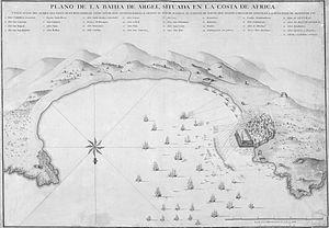 Plan de la baie d alger situee sur la cote d afrique Expedition barcelo 1783.jpg