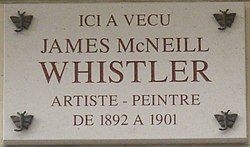 """Plaque James McNeill Whistler, 110 rue du Bac, Paris 7"""