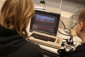 Playing Commodore 64 at Media museum Rupriikki.jpg