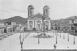 Mayagüez, Puerto Rico - Mayagüez's Plaza Colón and Nuestra Señora de la Candelaria church (later cathedral), 1898