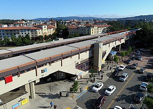 Pleasant Hill station from parking garage, May 2018.JPG