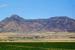 Plymouth, Utah, with Gunsight Peak in background