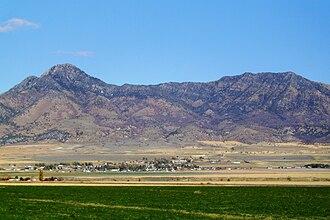 Plymouth, Utah - Plymouth, Utah, with Gunsight Peak in background