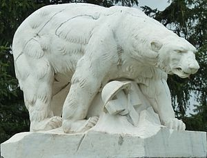 Polar Bear Expedition - Polar Bear Monument in White Chapel Cemetery, Troy, Michigan, by sculptor Leon Hermant