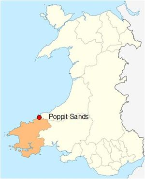 Poppit Sands - Poppit Sands, showing its location within Pembrokeshire