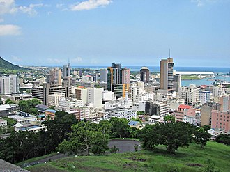 Port Louis - The skyline of Port Louis, dominated by the Bank of Mauritius Tower