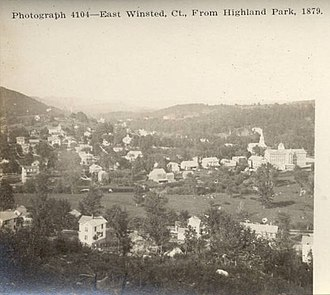 Winsted, Connecticut - Image: Postcard East Winsted CT Birds Eye View 1879