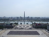 Practising a torch march on Kim il-sung square 11.JPG