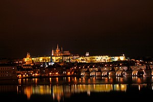 Prague Castle and part of Charles bridge by ni...