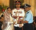 Pratibha Devisingh Patil presenting the Param Vishisht Seva Medal to Air Marshal, Packiam Paul Rajkumar AVSM(12018) Flying (Pilot) at the Defence Investiture Ceremony at Rashtrapati Bhavan, in New Delhi on May 14, 2008.jpg
