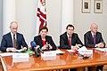 Preses konference par Ministru prezidenta Valda Dombrovska vadītās trešās valdības veikumu pirmajās simts dienās un nākotnes iecerēm (6770488059).jpg