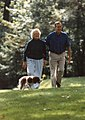 President and Mrs Bush walk with Millie at Camp David 767.jpg