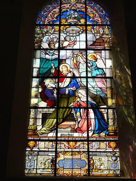 Prisches (Nord, Fr) Église Saint-Nicolas, un vitrail