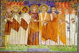 Constantine IV - Constantine IV and his retinue, mosaic in basilica of Sant'Apollinare in Classe, Ravenna.