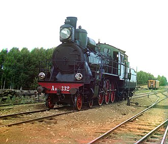 Superheater - Early color photograph from Russia taken by Sergey Prokudin-Gorsky in 1910 of steam locomotive with a superheater