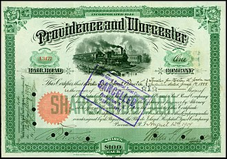 Providence and Worcester Railroad - Share of the Providence and Worcester Railroad Company, issued 12. August 1909