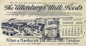 "Allen & Hanburys - Calendar blotter advertising The ""Allenburys"" milk foods, from London 1905."