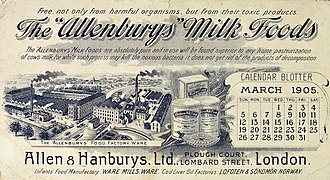 "Allen & Hanburys - Calendar blotter advertising The ""Allenburys"" milk foods, from London 1905."