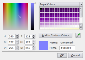 Color picker - A screenshot of the Qt color picker.