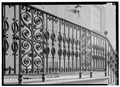 RAKING VIEW OF WROUGHT-IRON RAILING - Dr. John Frissell House, 54 Fourteenth Street, Wheeling, Ohio County, WV HABS WVA,35-WHEEL,32-4.tif