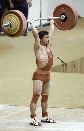 Weightlifting at the 1980 Summer Olympics - Viktor Mazin during his gold medal performance. RIAN photo.