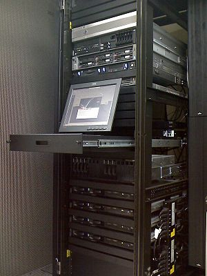 Data center - A typical server rack, commonly seen in colocation