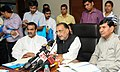 Radha Mohan Singh addressing at the launch of the 3 Web-portals Participatory Guarantee System- India for organic certification, Soil Health Management System and Fertilizer Quality Control System, at a function.jpg