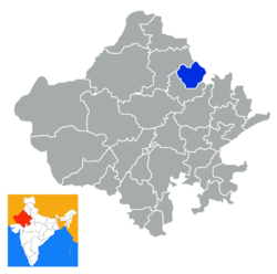 Location of Jhunjhunu district in Rajasthan