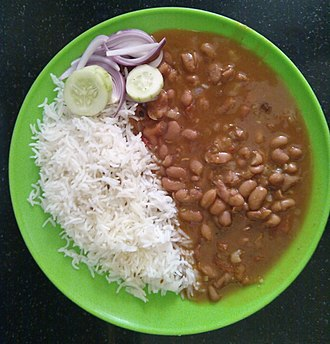 Curry - Rajma-Chawal, curried red kidney beans with steamed rice, from India