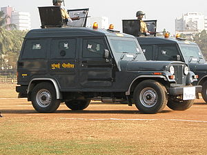Law enforcement in India - An armoured vehicle of the Mumbai Police Force. After the recent attack on Mumbai all metropolitan police which are under the command of the Central Government have paramilitary type forces affiliated with them