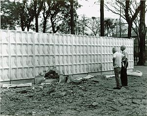 Embassy of the United States, Saigon - Hole blown in Embassy perimeter wall on Thong Nhut (now Le Duan) Boulevard through which the Viet Cong entered the Embassy grounds