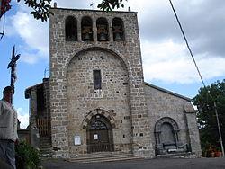 Rauret (Haute-Loire, Fr), l'église et son clocher-mur.JPG
