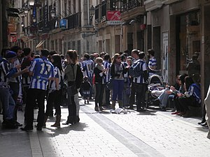 Real Sociedad - Real Sociedad supporters at the streets of San Sebastián