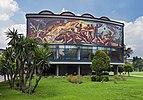 Rear facade of Alfonso Caro auditorium, UNAM campus, Mexico City.jpg
