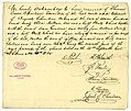 Receipt of heirs of Auguste Chouteau to Therese Cerre Chouteau for seventh part of proceeds of sale of slaves, signed T.F. Smith, R. Paul, Gabriel Paul, Henry Chouteau, E. Chouteau, Gabriel S. Chouteau, November 18, 1830.jpg