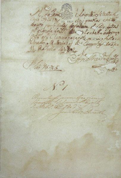 Ficheiro:Recibo autógrafo de Aleijadinho - 1802.jpg