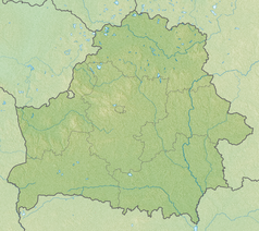 """Mapa konturowa Białorusi, blisko centrum na lewo znajduje się punkt z opisem """"miejsce bitwy"""""""