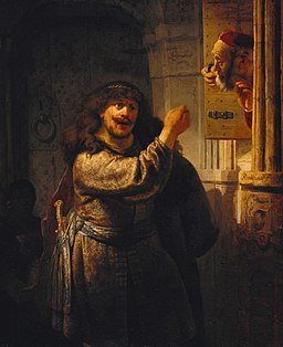 Rembrandt - Samson threatened his father-in-law - Google Art Project