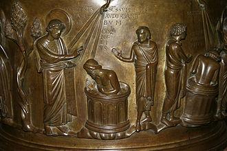 Mosan art - Liège, St Bartholomew's Church. Baptismal font by Renier de Huy (detail)